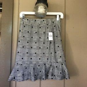 Grey Plaid Polkadot Stretch Frill Skirt